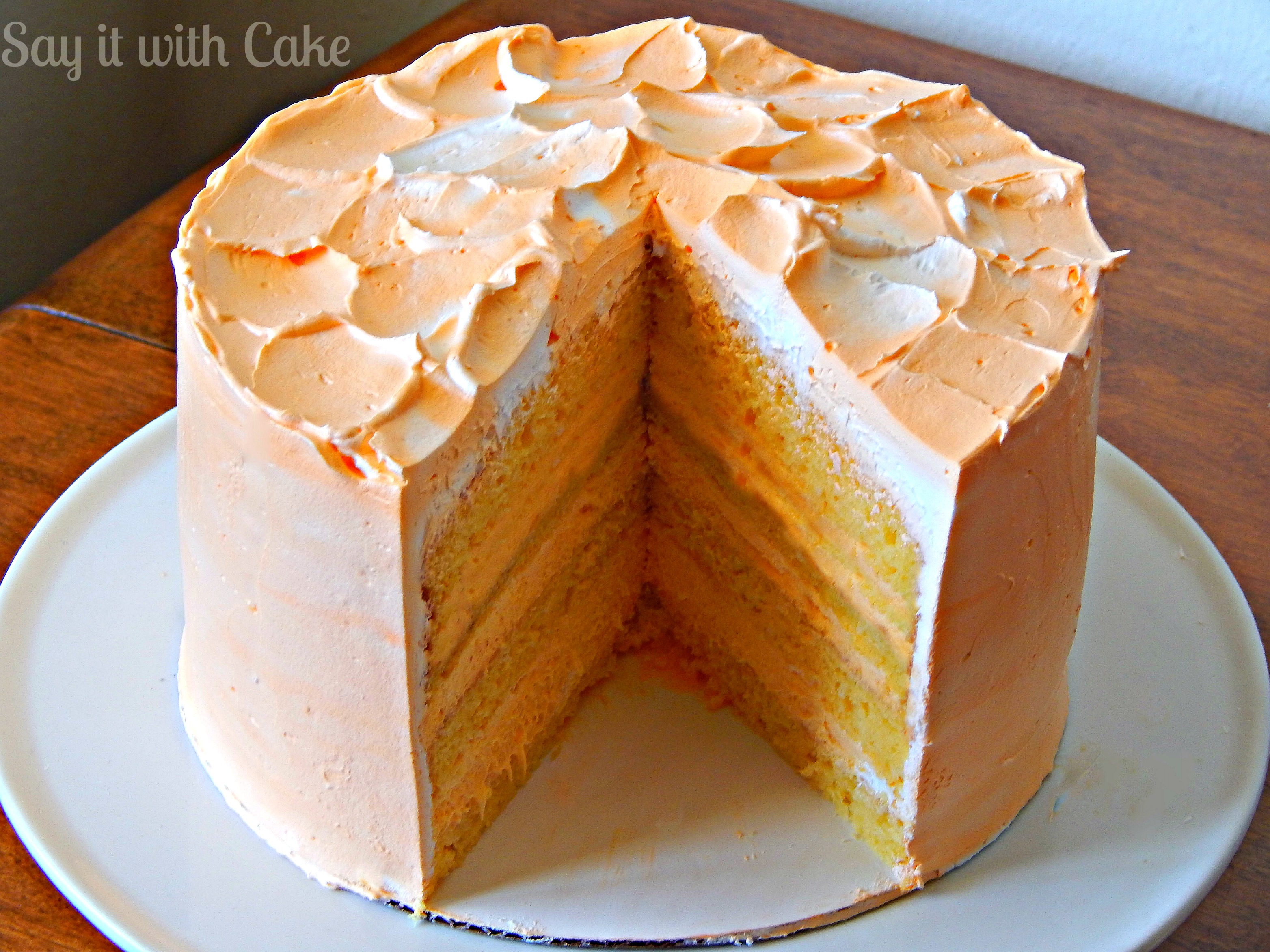 This orange dreamsicle cake tastes just like an orange dreamsicle bar ...