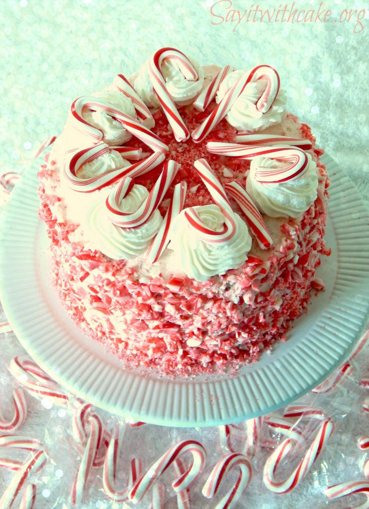 top view of candy cane cake1