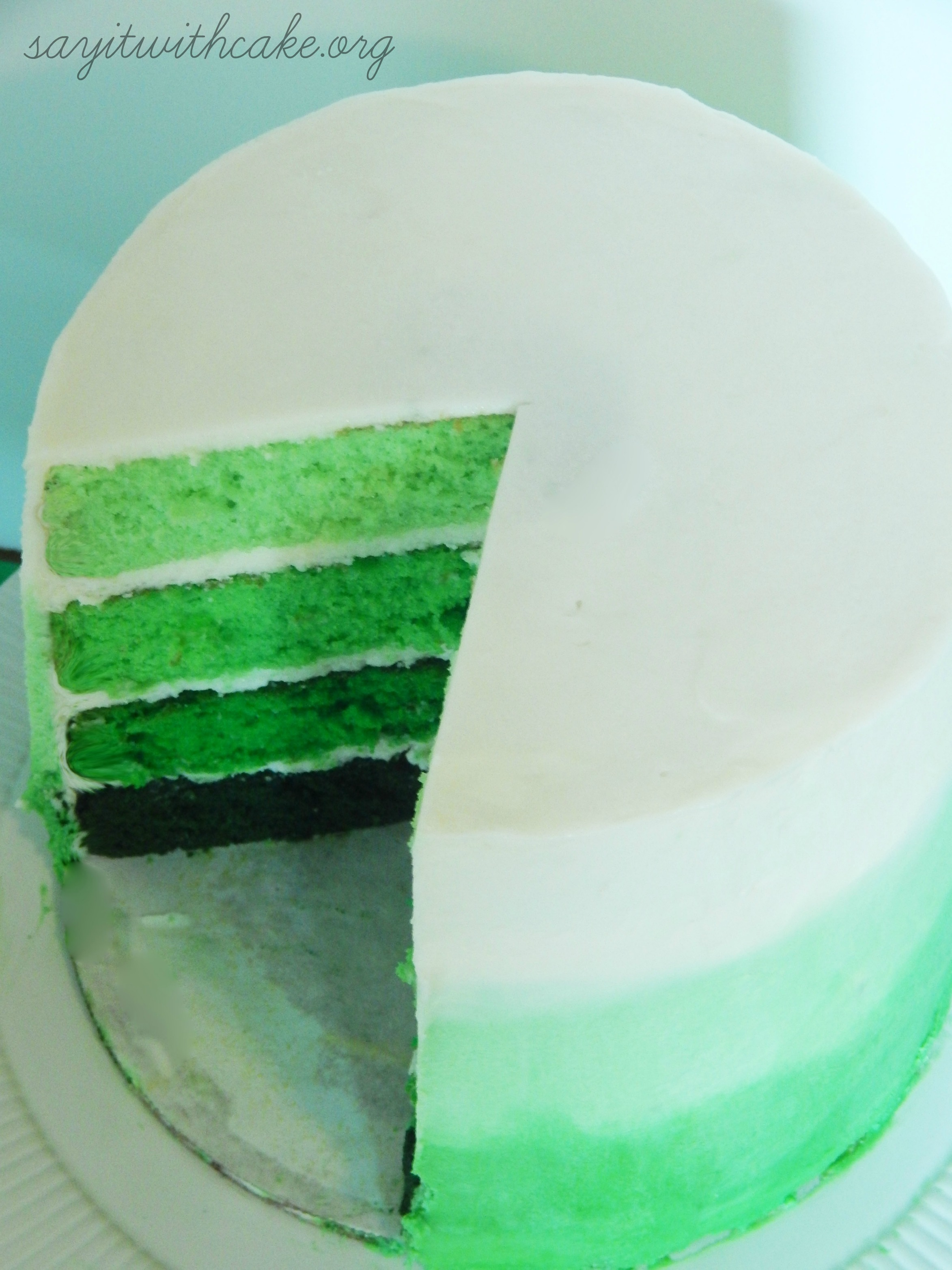 Green Ombre Swirl Cake – Say it With Cake
