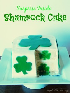 Shamrock surprise inside cake