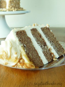 Apple spice cake with toffee and cream cheese frosting
