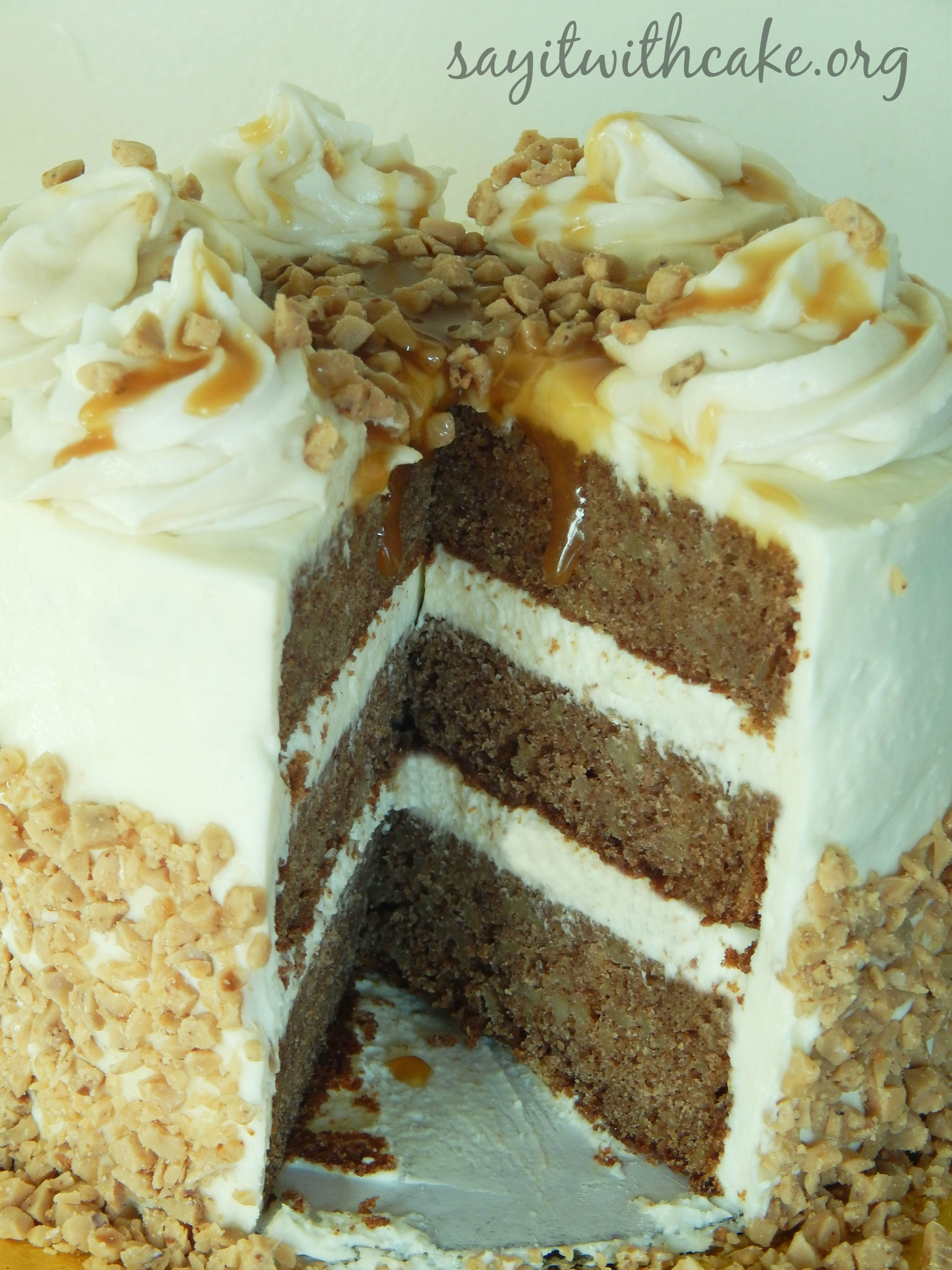 Apple Spice Toffee Cake with Cream Cheese Frosting | Say it With Cake
