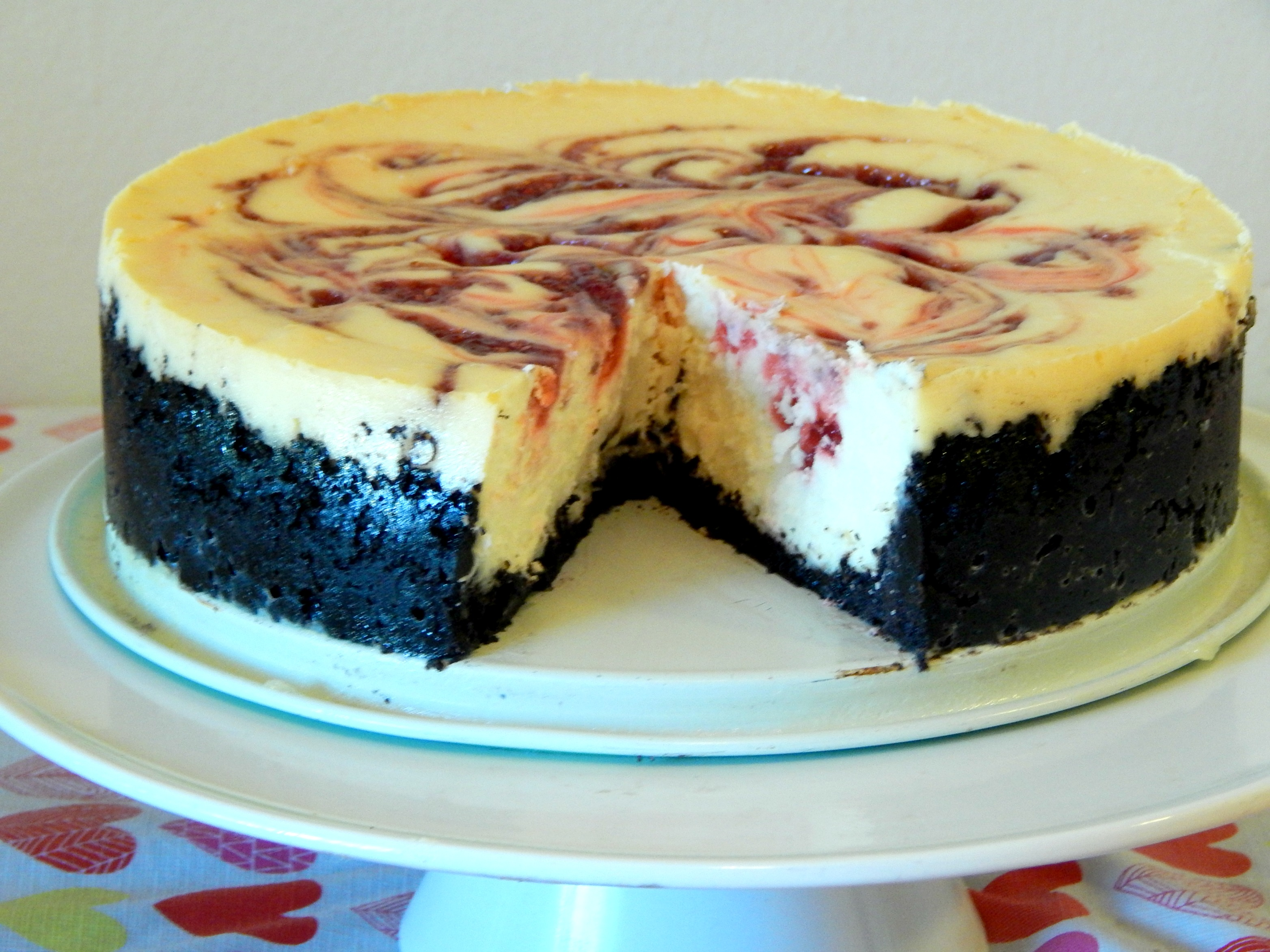 raspberry chocolate swirl cheesecake