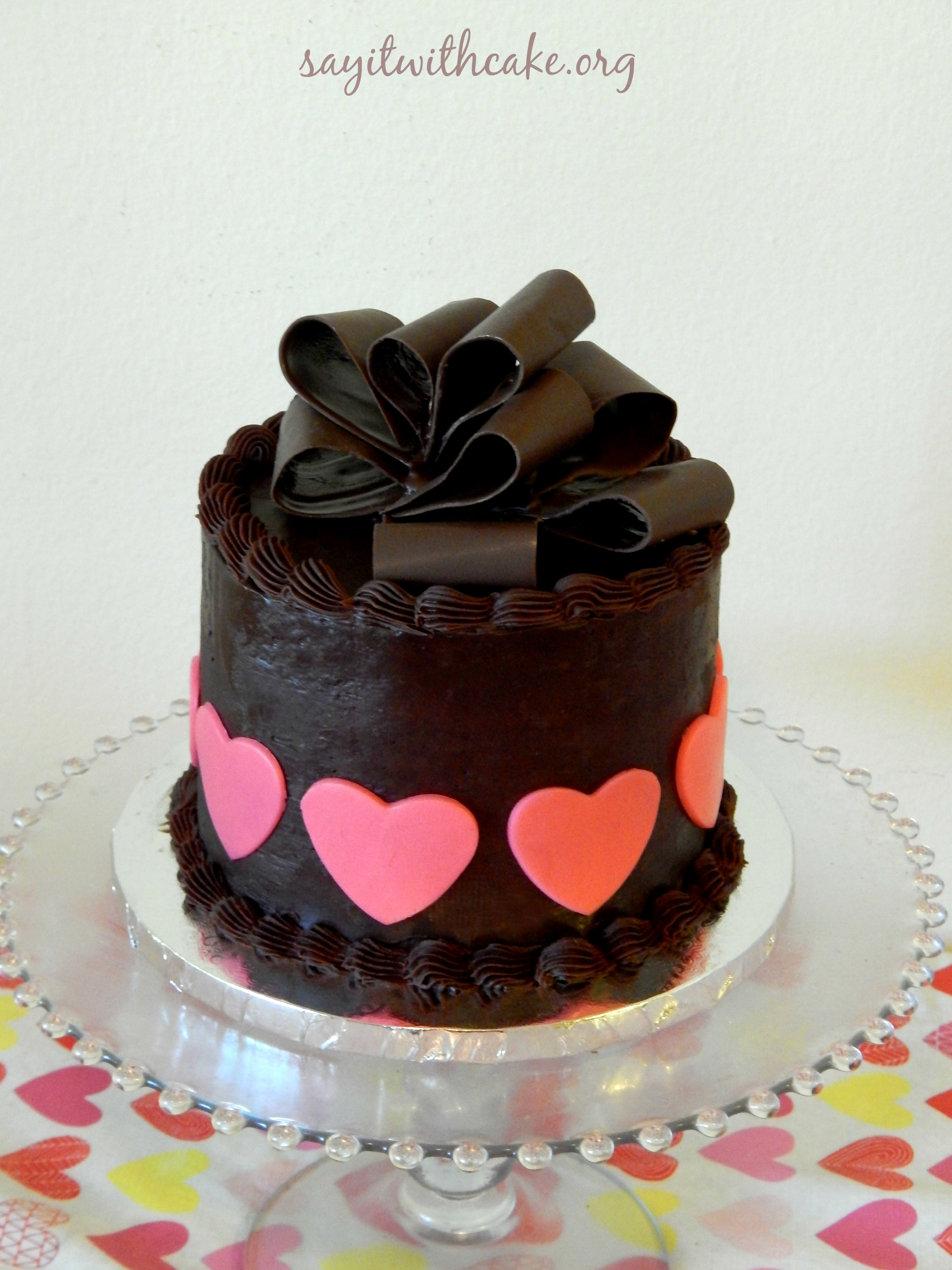 Valentines Day Chocolate Cake With Chocolate Bow Say It With Cake