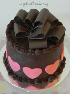 Valentines Day Chocolate cake with Chocolate bow