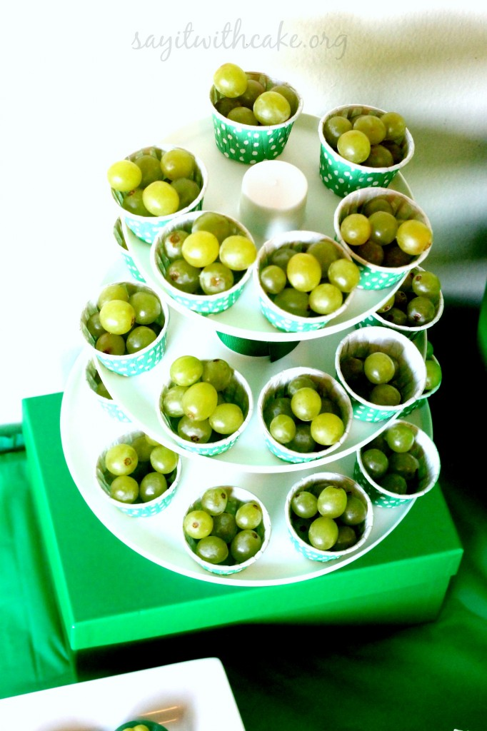 St Paddy's Day green grape tower
