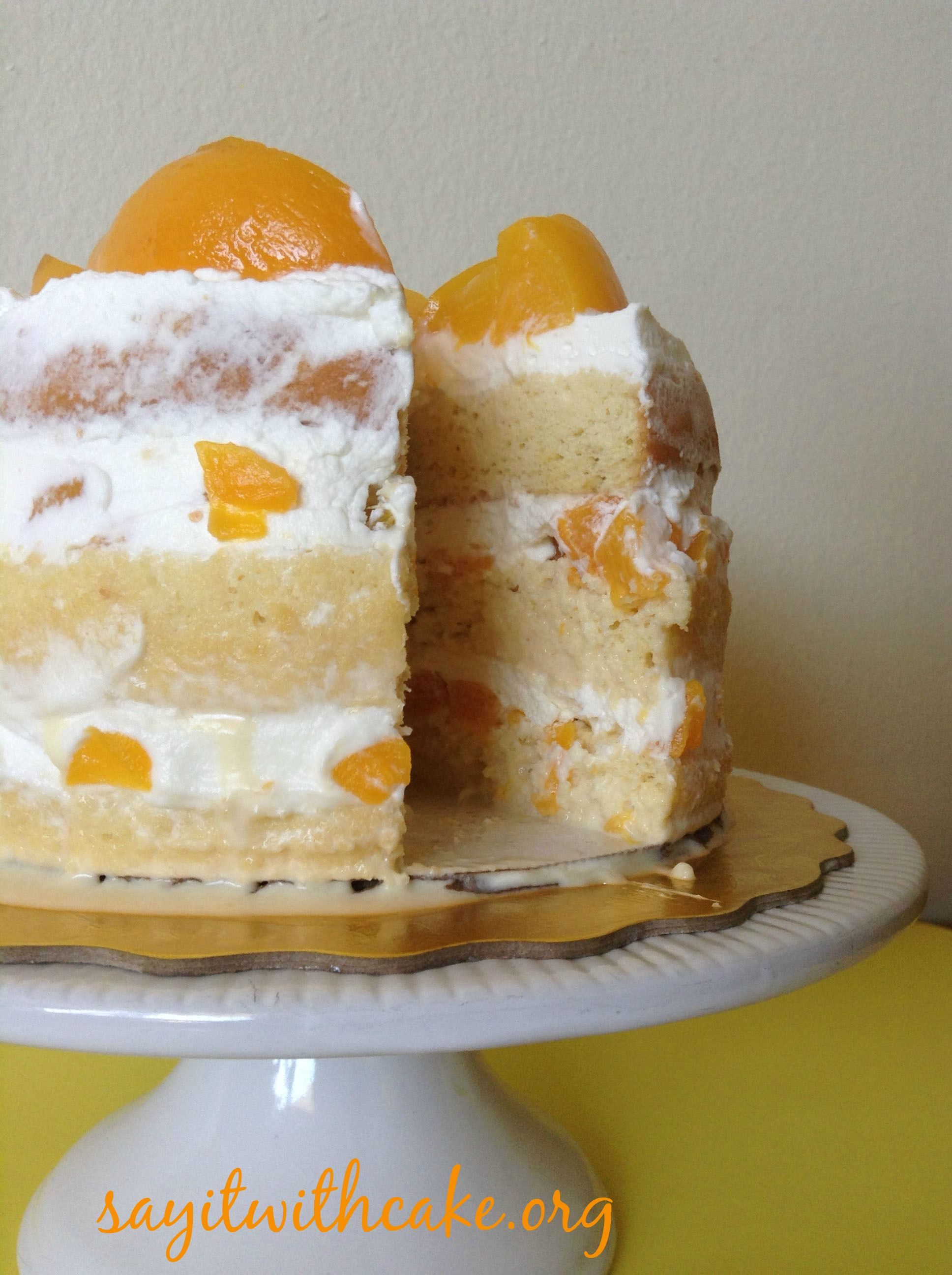 Tres Leche Cake With Peaches