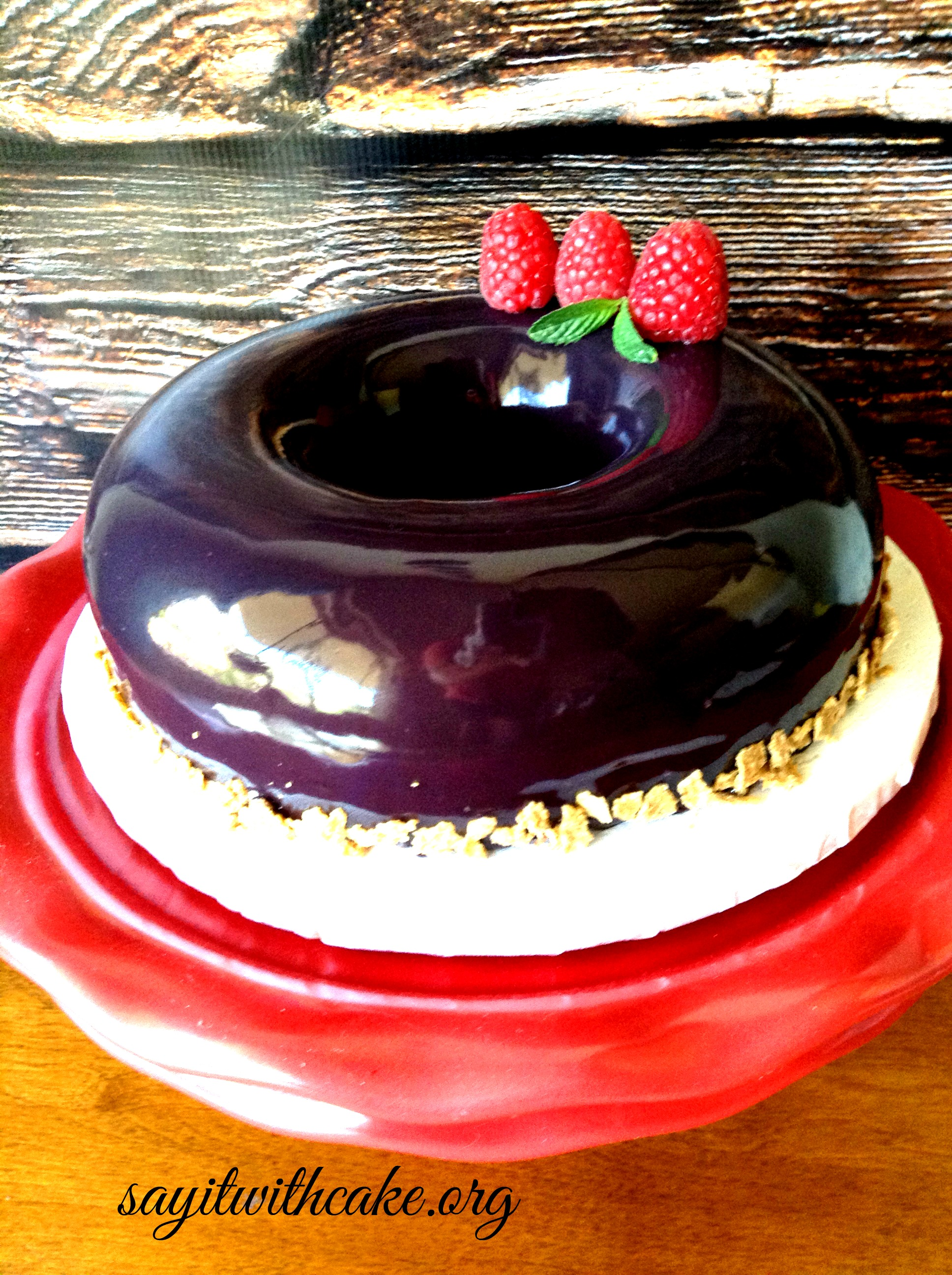 Chocolate and raspberry mousse cake with mirror glaze for Mirror glaze cake