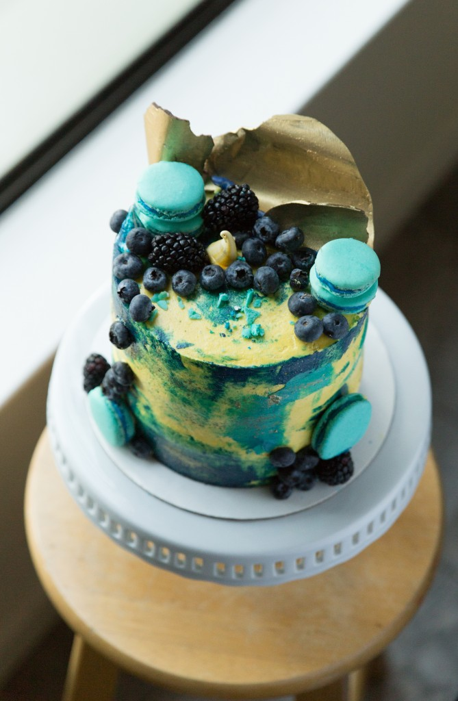 watercolor cake with chocolate sail